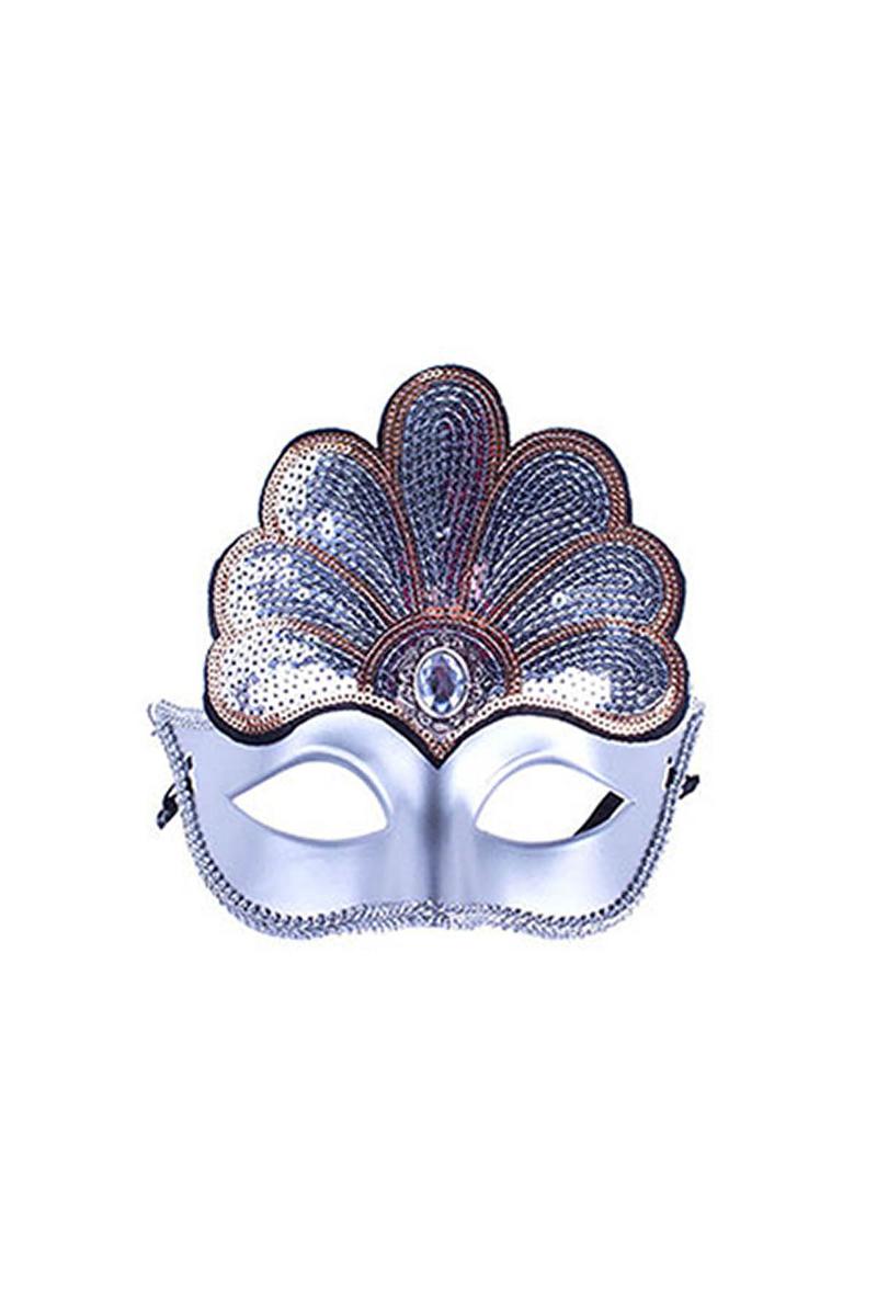 Gümüş Payetli Balo Maskesi 1 Adet