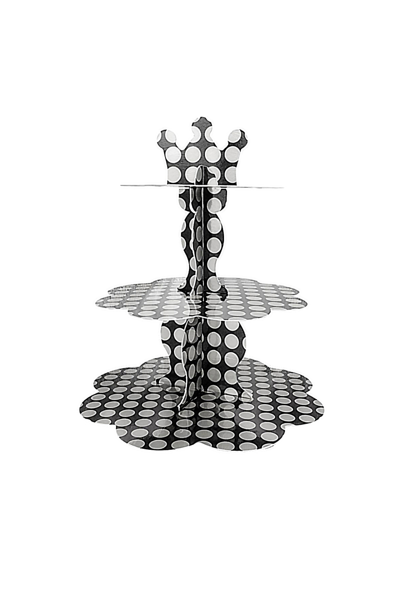 Gümüş Puantiyeli Siyah Metalik Cupcake Standı 3 Katlı 1 Adet