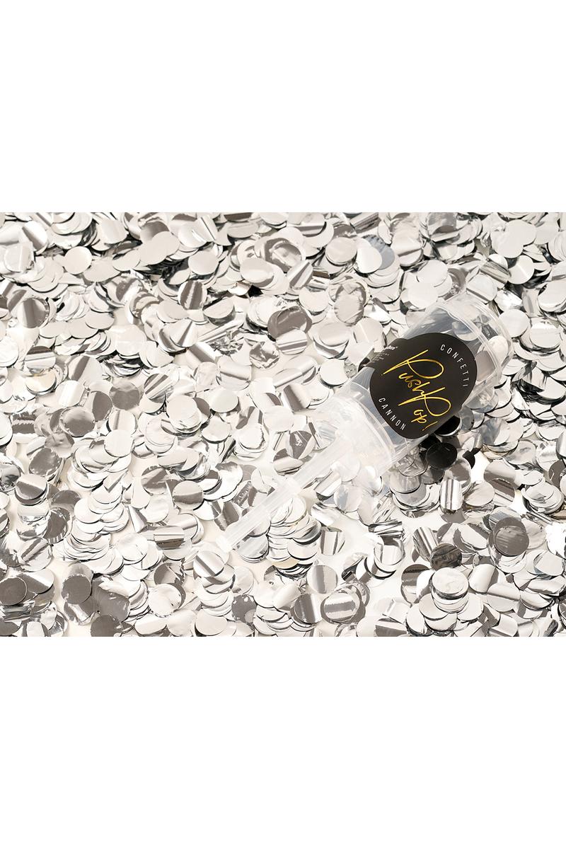 Gümüş Push Pop Mini Parti Konfeti 18cm 1 Adet - Thumbnail