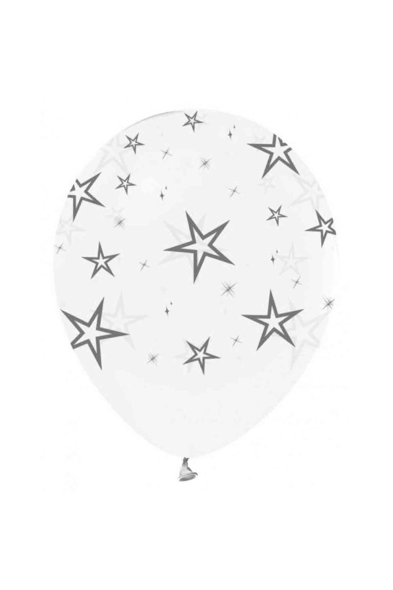 Gümüş Yıldız Baskılı Şeffaf Balon 10lu