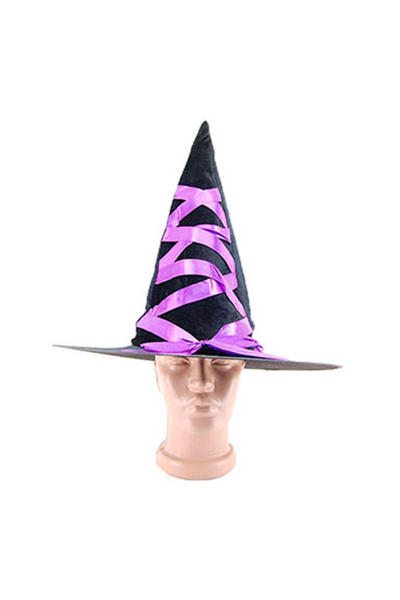 Halloween Mor Kurdeleli Kumaş Cadı Şapka 1 Adet