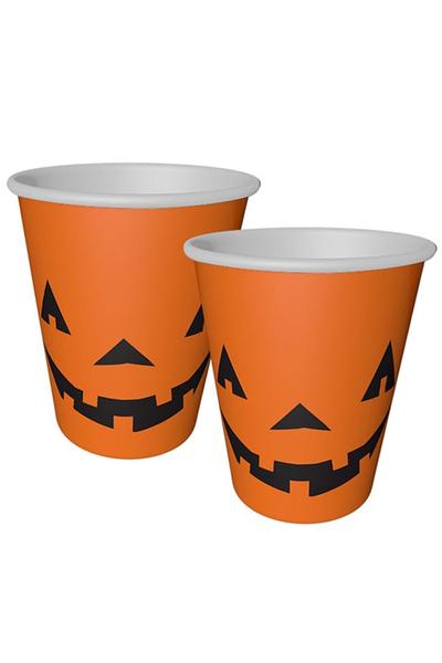 Halloween Balkabağı Baskılı Turuncu Karton Bardak 8oz 8li