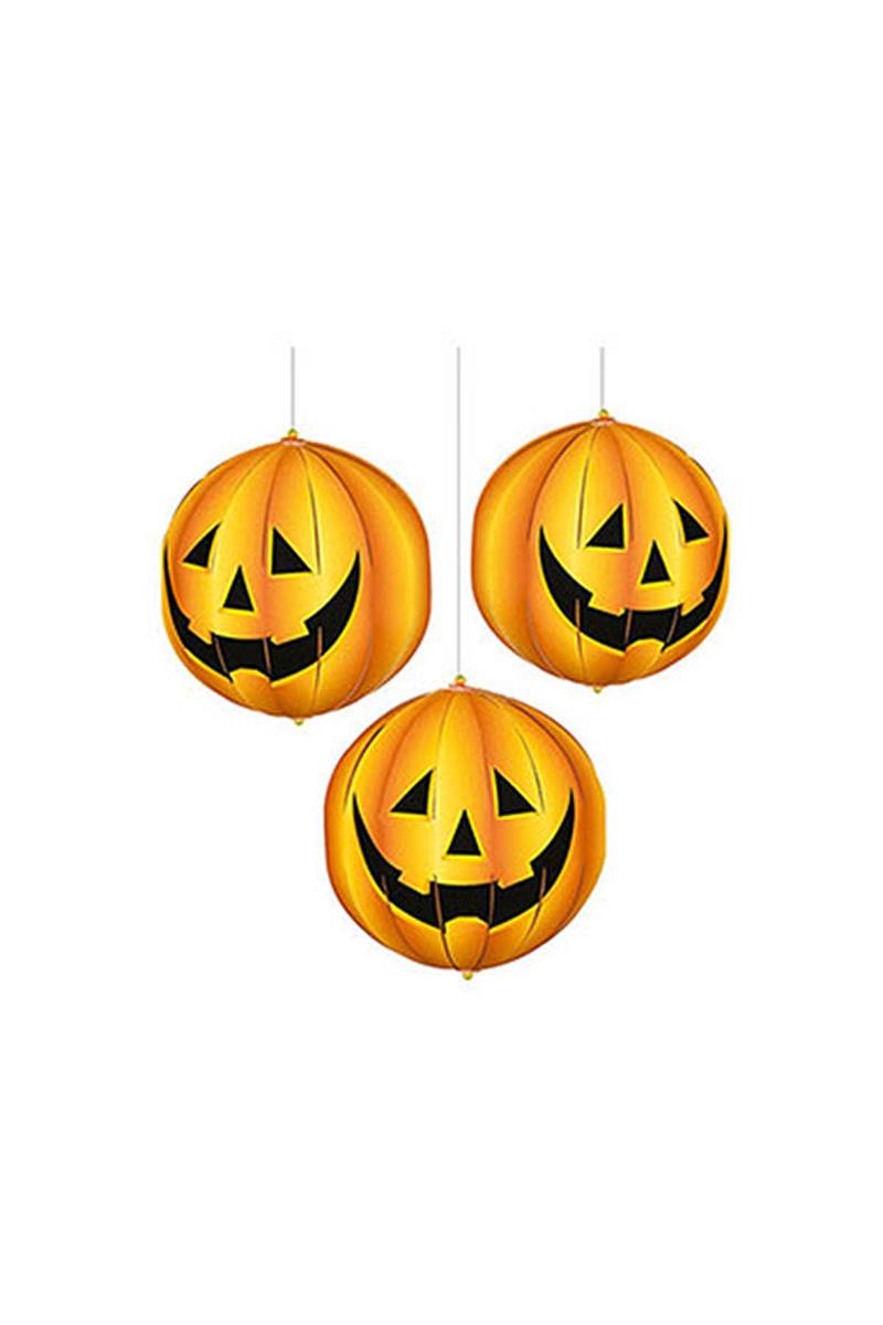 Cadılar Bayramı-Halloween Balkabağı Fener Seti 15cm 3lü