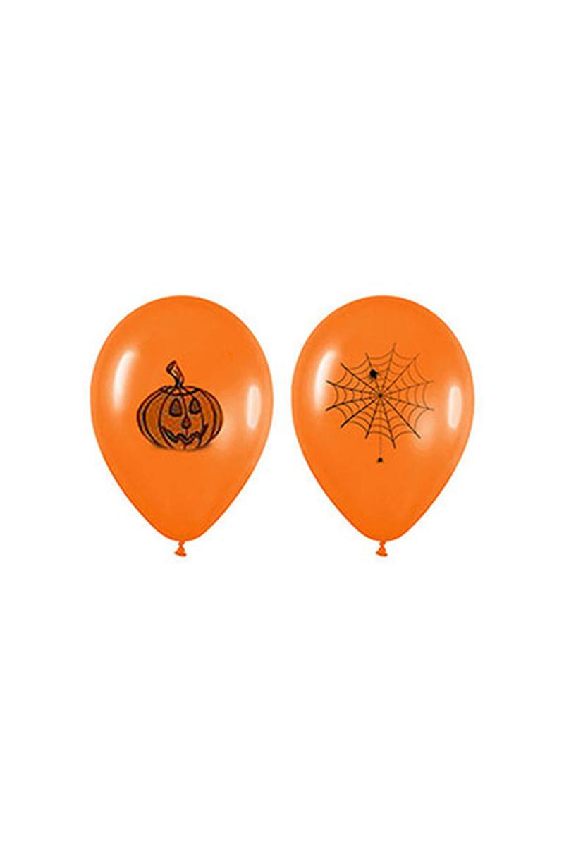 Cadılar Bayramı-Halloween Balkabağı Baskılı Turuncu Balon 10lu