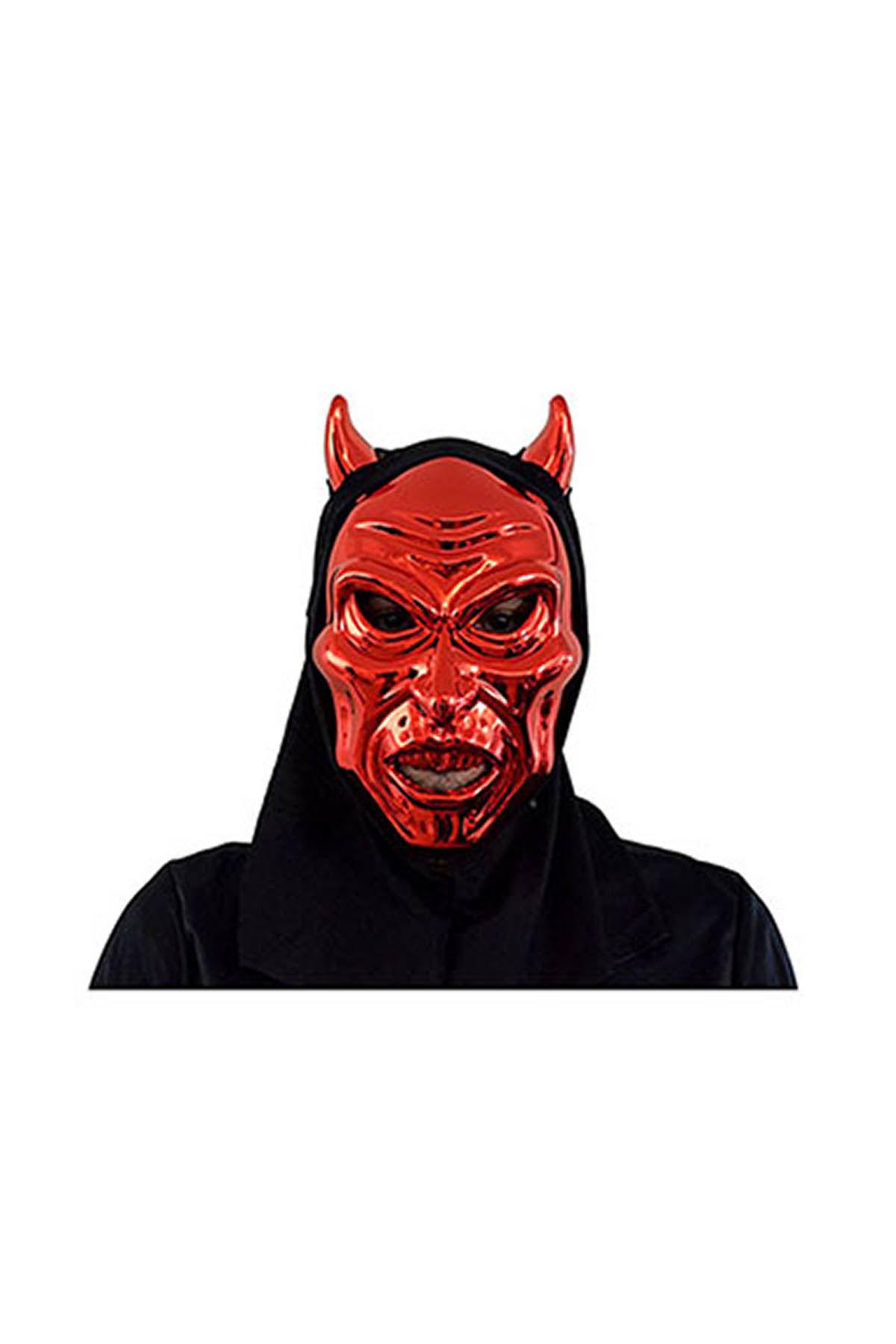 Cadılar Bayramı-Halloween Pelerinli Kırmızı Şeytan Maske