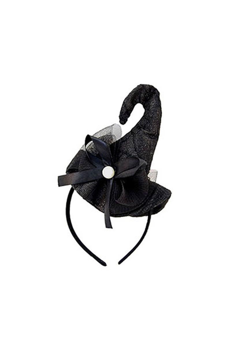 Halloween Tüllü Cadı Şapkası Taç Siyah 1 Adet
