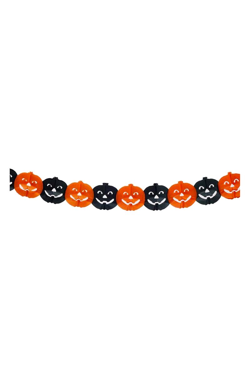Halloween Turuncu-Siyah Balkabağı Zincir Süs 4 m 1 Adet