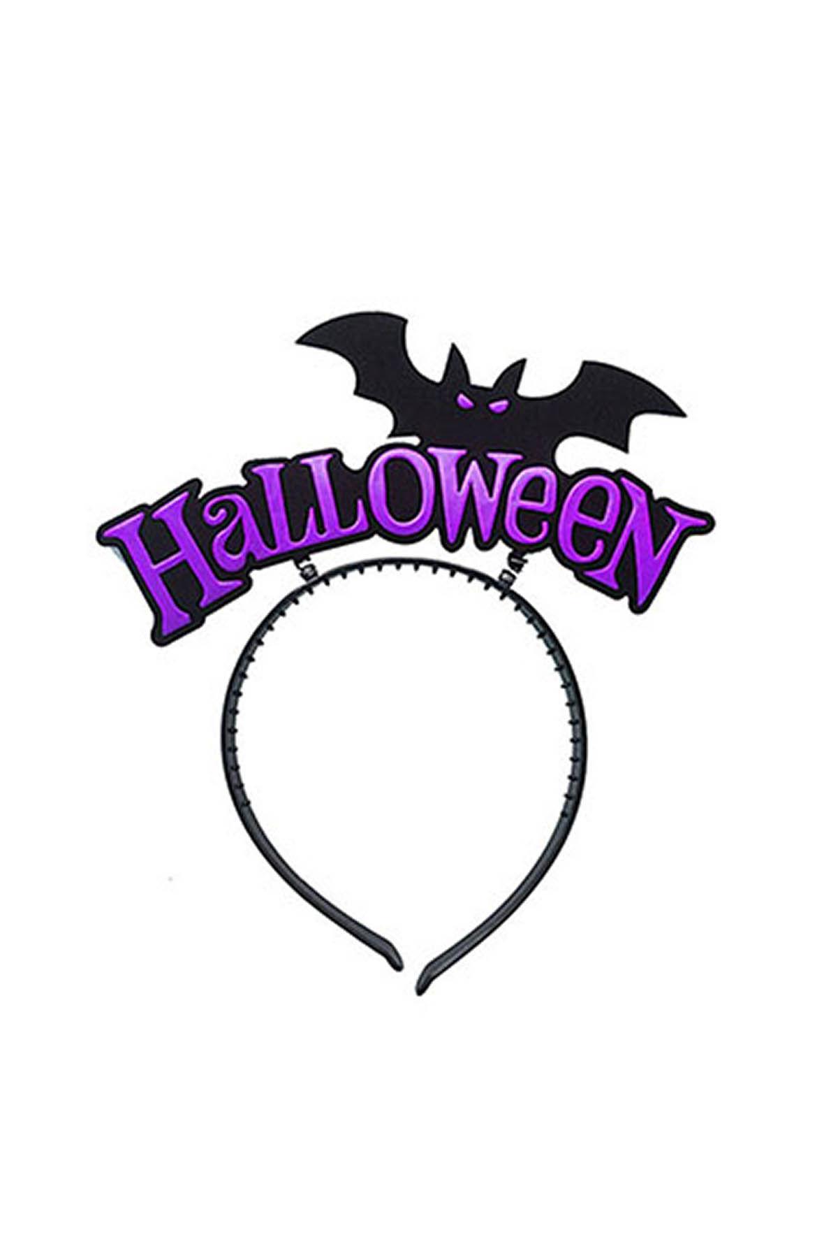 Cadılar Bayramı - Halloween Yarasa Mor Parti Taç