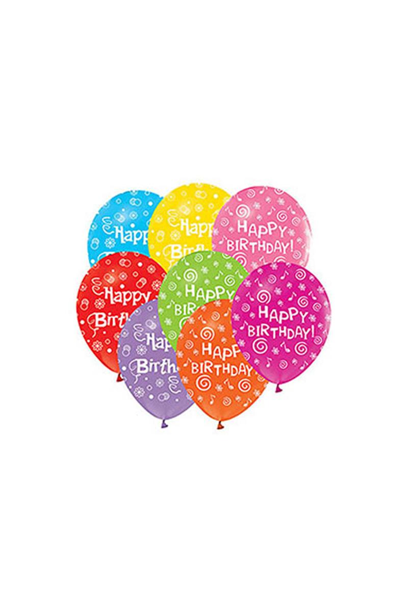 Happy Birthday Baskılı Renkli Balon 10lu