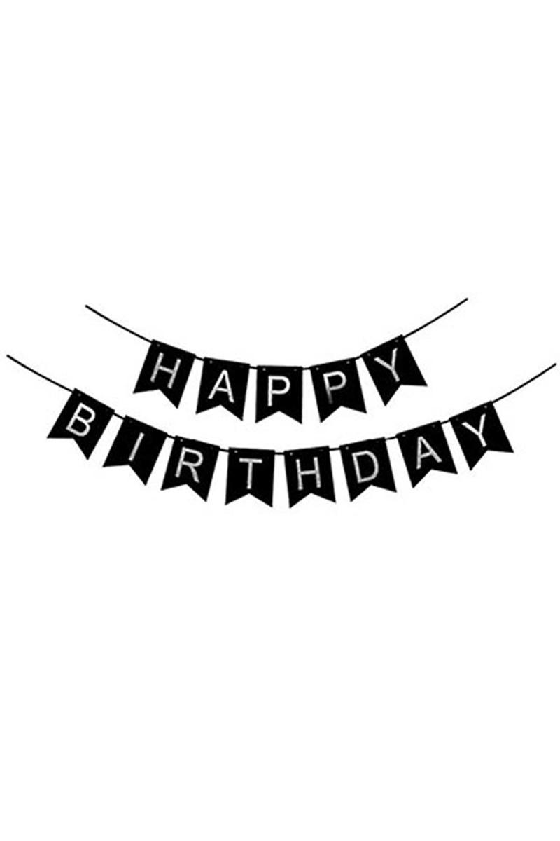 Happy Birthday Gümüş Bayrak Afiş 1 Adet