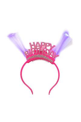 Happy Birthday Işıklı Pembe Parti Taç