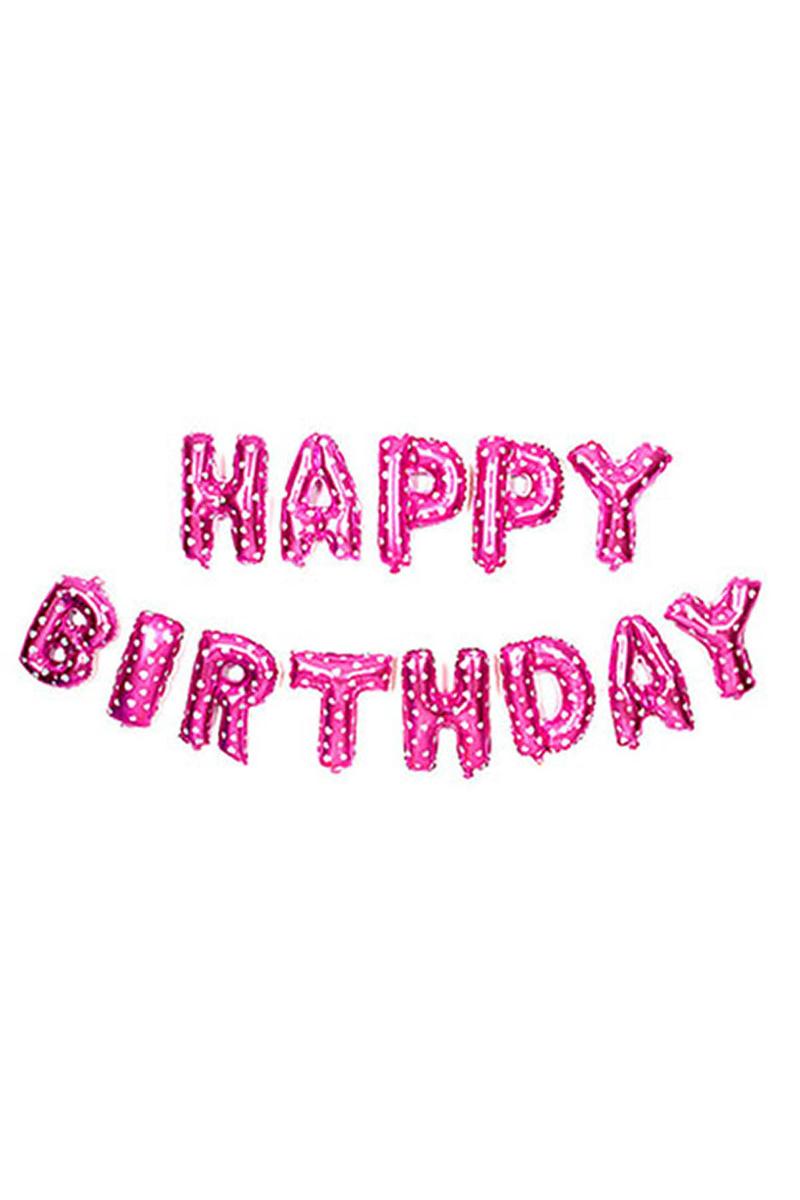 Happy Birthday Pembe Harf Folyo Balon Set 13lü