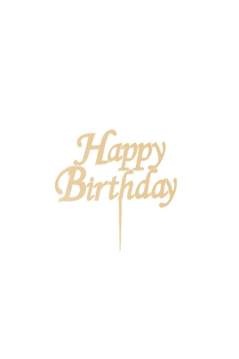 Happy Birthday Pleksi Pasta Süsü Altın 15x15cm 1 Adet