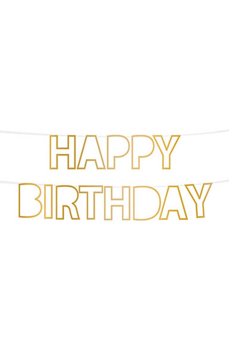 Happy Birthday Şablon Harf Afiş Simli Altın 1 Adet