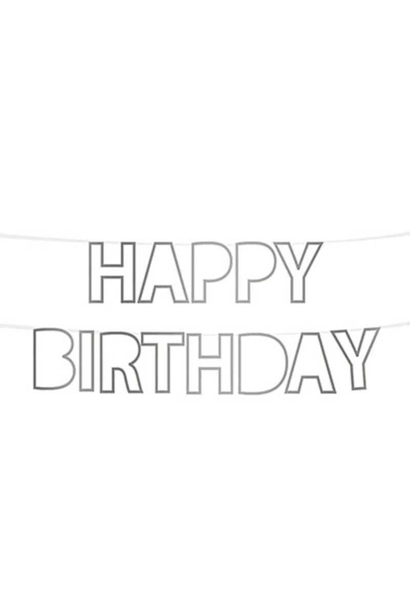 Happy Birthday Şablon Harf Afiş Simli Gümüş 1 Adet