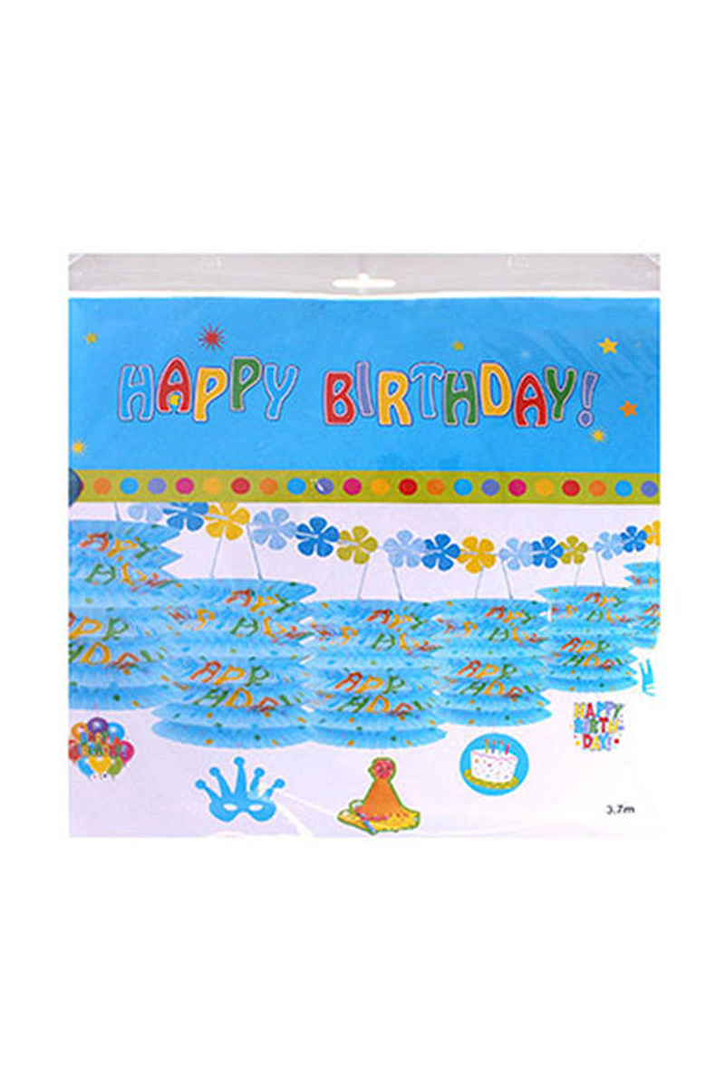 Happy Birthday Sıralı Fener Süs Mavi 1 Adet