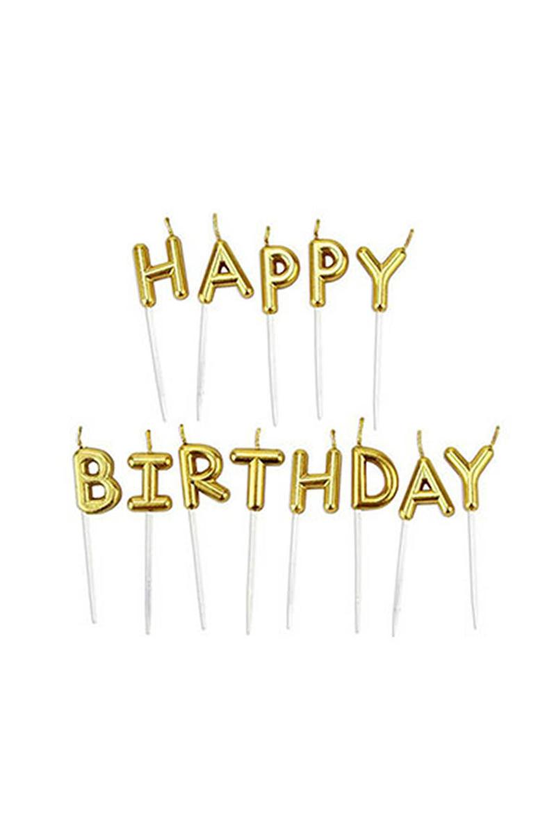 Happy Birthday Yazı Mum Altın 2,5cm 1 Adet - Thumbnail