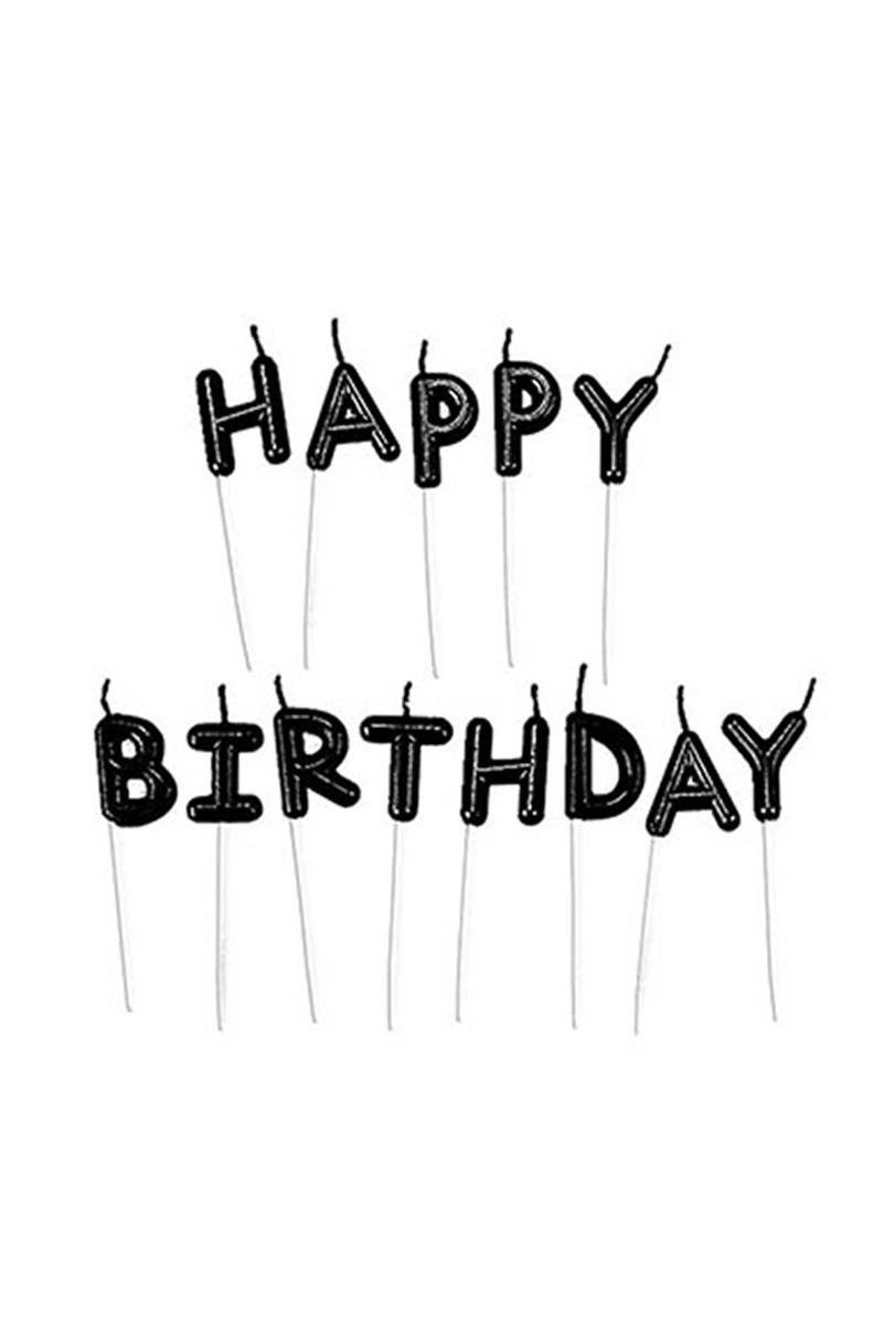 Happy Birthday Yazı Mum Siyah 2,5cm 1 Adet