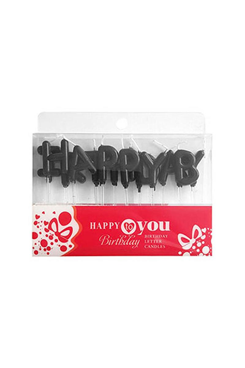 Happy Birthday Yazı Mum Siyah 2,5cm 1 Adet - Thumbnail
