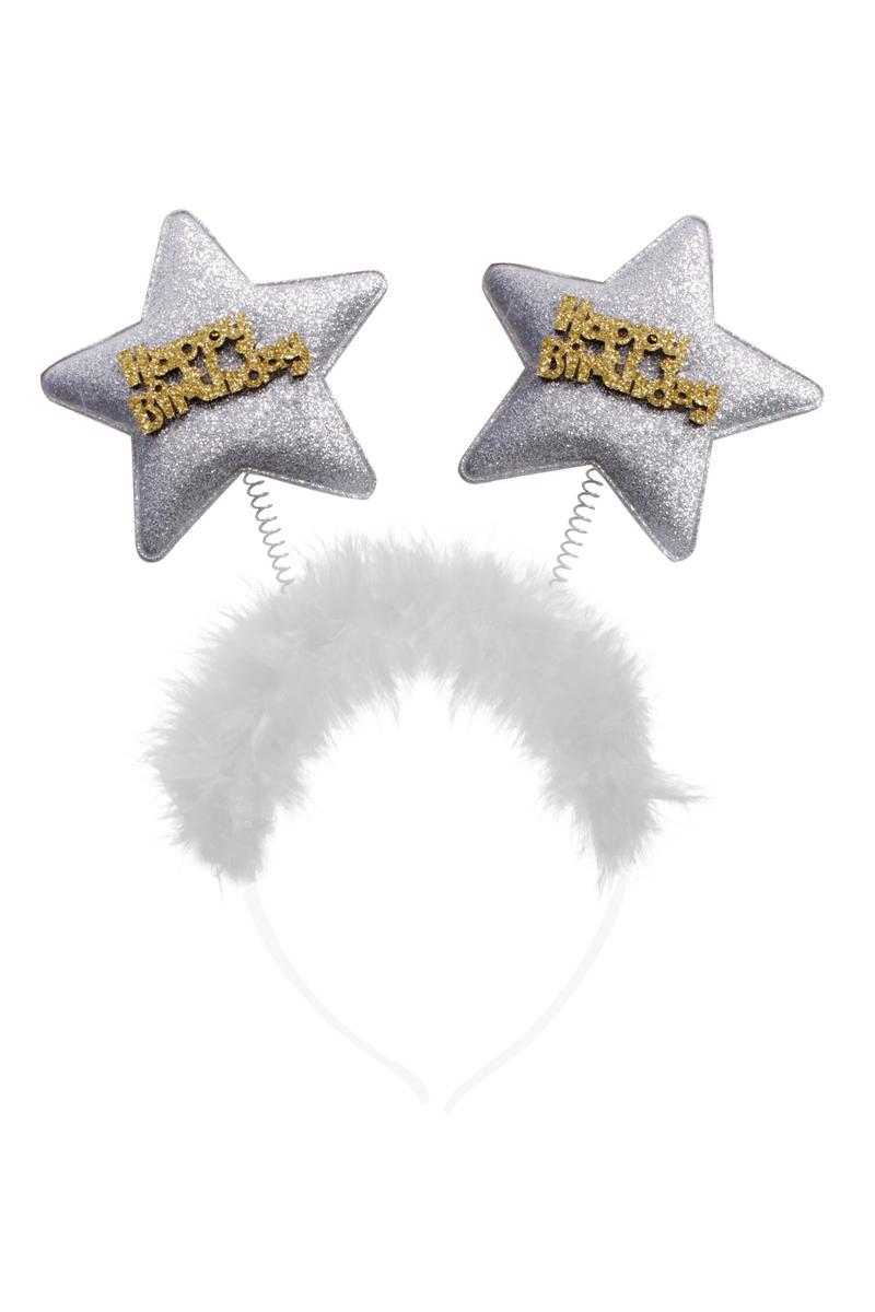 Happy Birthday Yıldızlı Simli Taç Gümüş 1 Adet