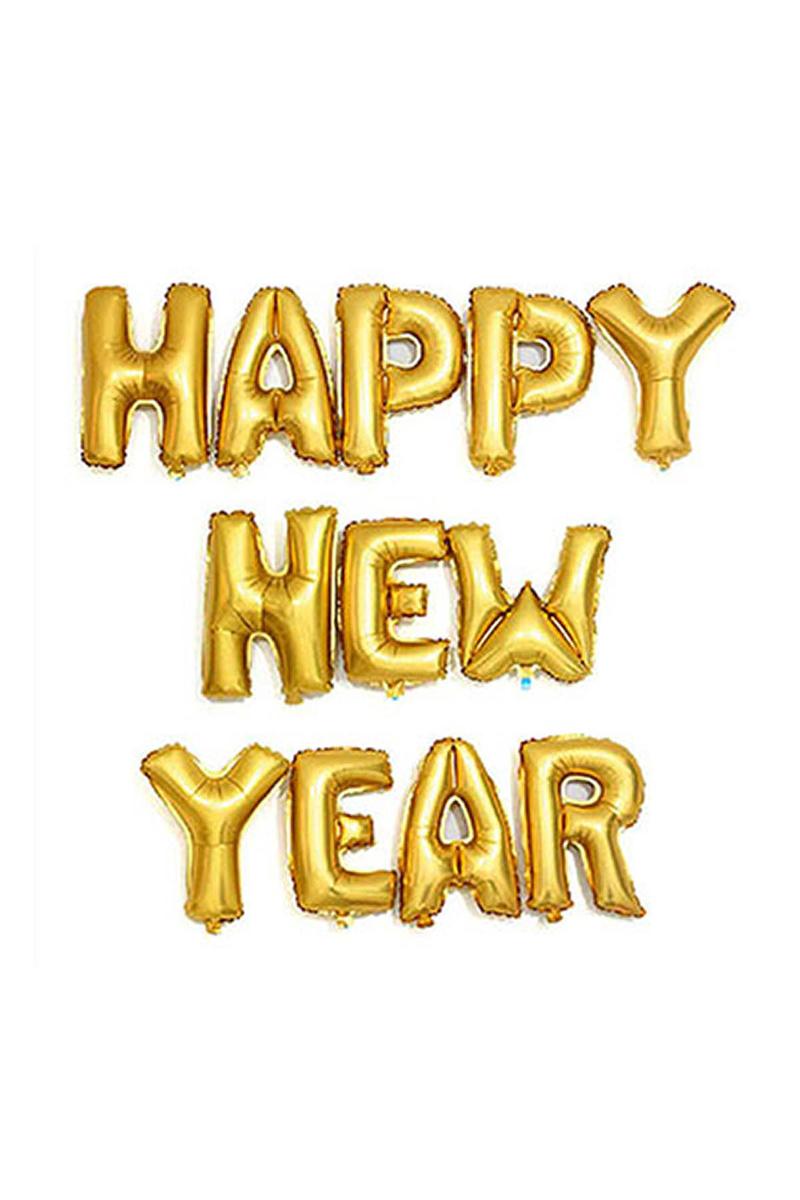 Happy New Year Altın Harf Folyo Balon Set 35cm 12li