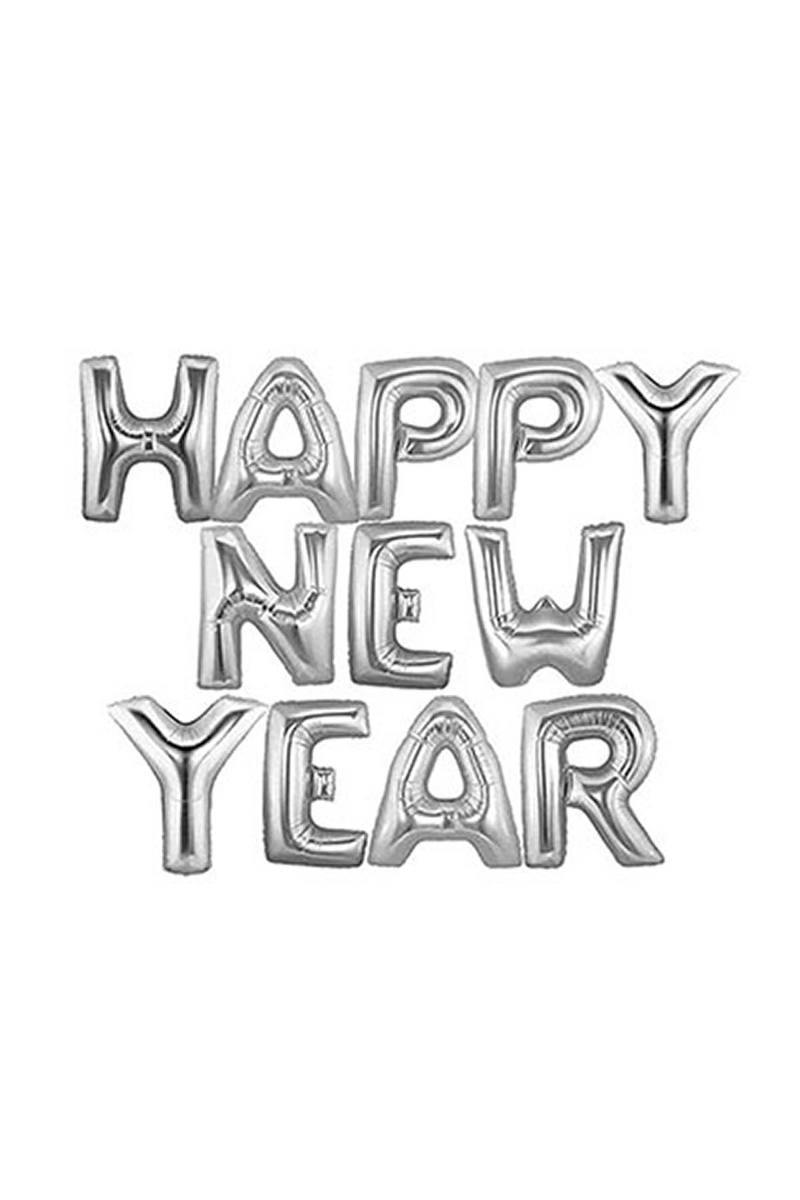 Happy New Year Gümüş Harf Folyo Balon Set 35cm 14lü
