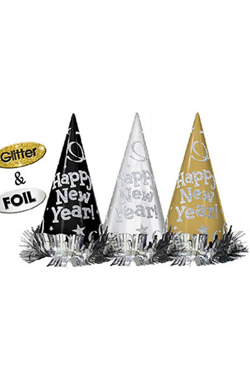 Happy New Year Metalik Külah Şapka 12li