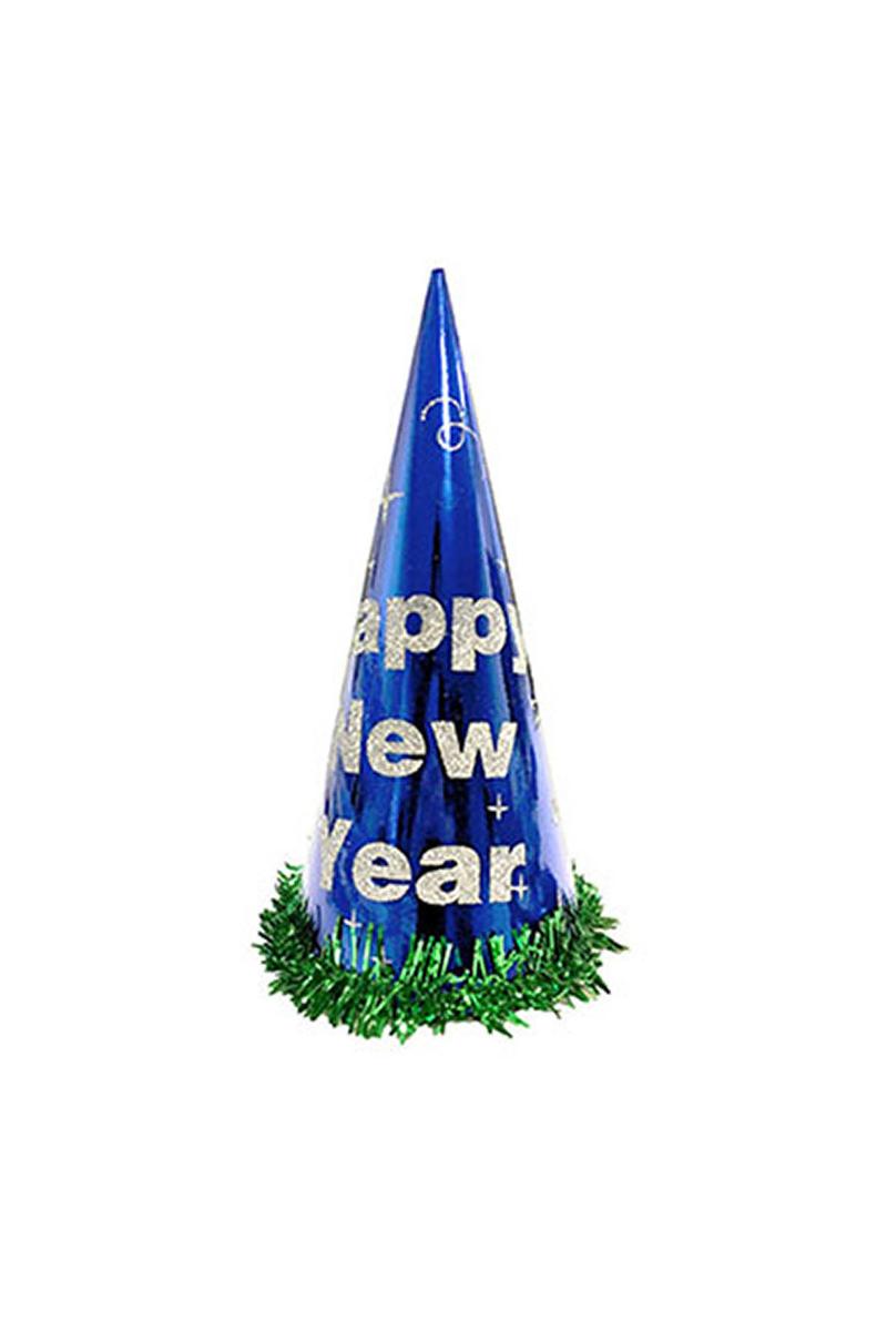 Happy New Year Simli Yılbaşı Şapkası Mavi 1 Adet