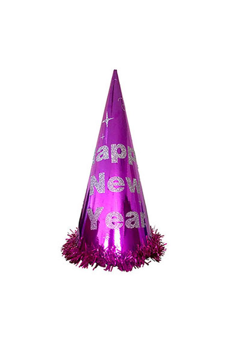 Happy New Year Simli Yılbaşı Şapkası Mor 1 Adet