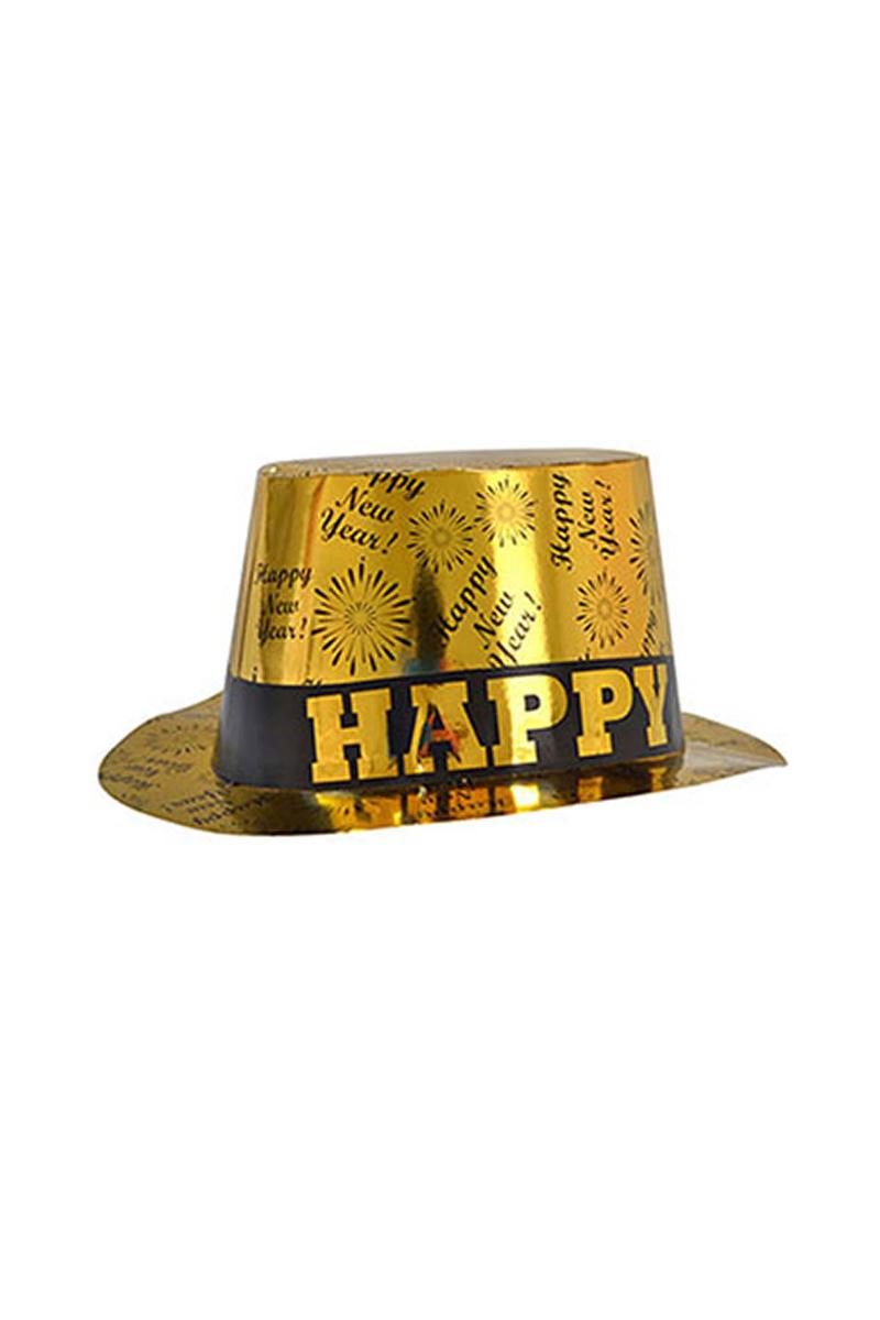 Happy New Year Yılbaşı Karton Fötr Şapka Altın 1 Adet