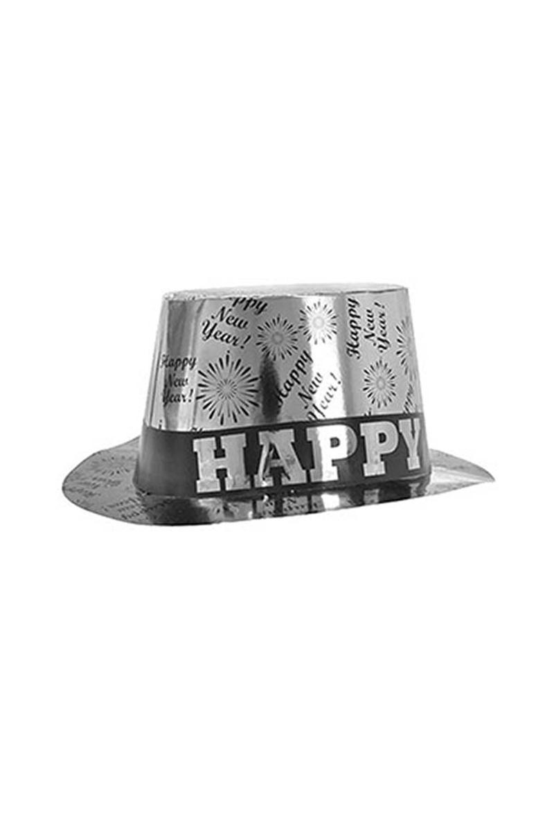 Happy New Year Yılbaşı Karton Fötr Şapka Gümüş 1 Adet