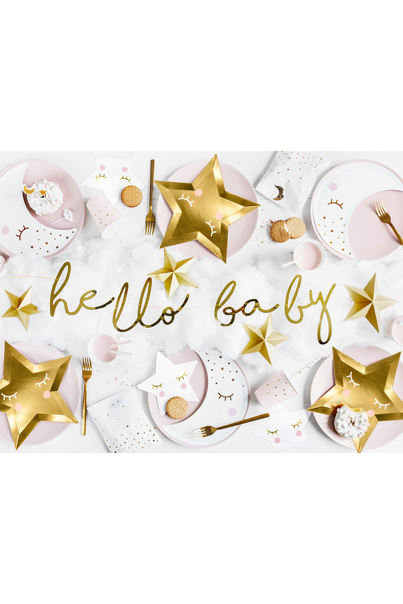 Hello Baby El Yazısı Metalize Altın Kağıt Harf Afiş 18x70cm 1 Adet - Thumbnail