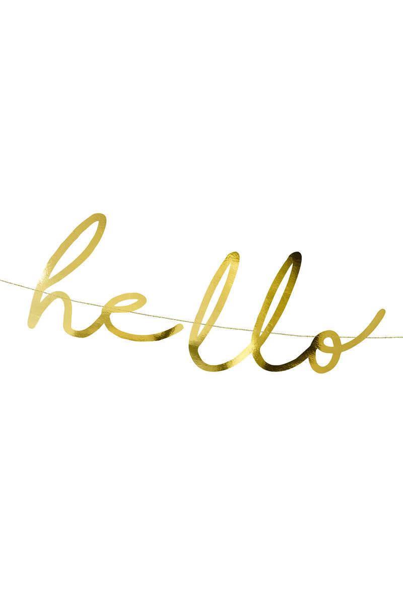 Hello Baby El Yazısı Metalize Altın Kağıt Harf Afiş 18x70cm 1 Adet