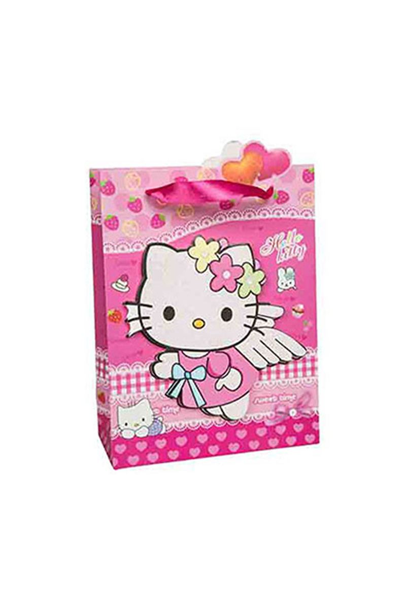 Hello Kitty 3D Simli Karton Çanta 17x25cm 12li