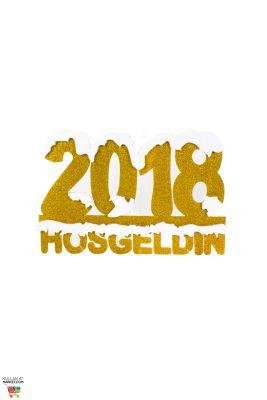 Hoşgeldin 2018 Altın Duvar Dekor Süs 48x31 cm