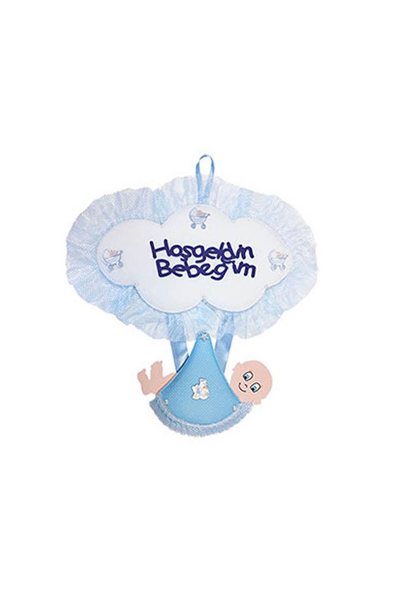 Hoşgeldin Bebeğim Mavi Kundak Kapı Süsü 1 Adet