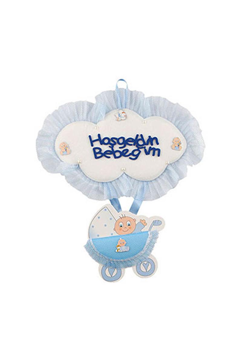 Hoşgeldin Bebeğim Mavi Puset Kapı Süsü 1 Adet