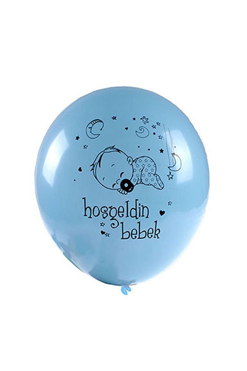 Hoşgeldin Bebek Baskılı Mavi Balon 10lu