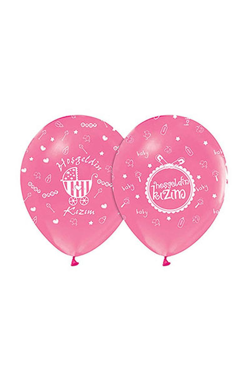 Hoşgeldin Kızım Baskılı Pembe Balon 10lu