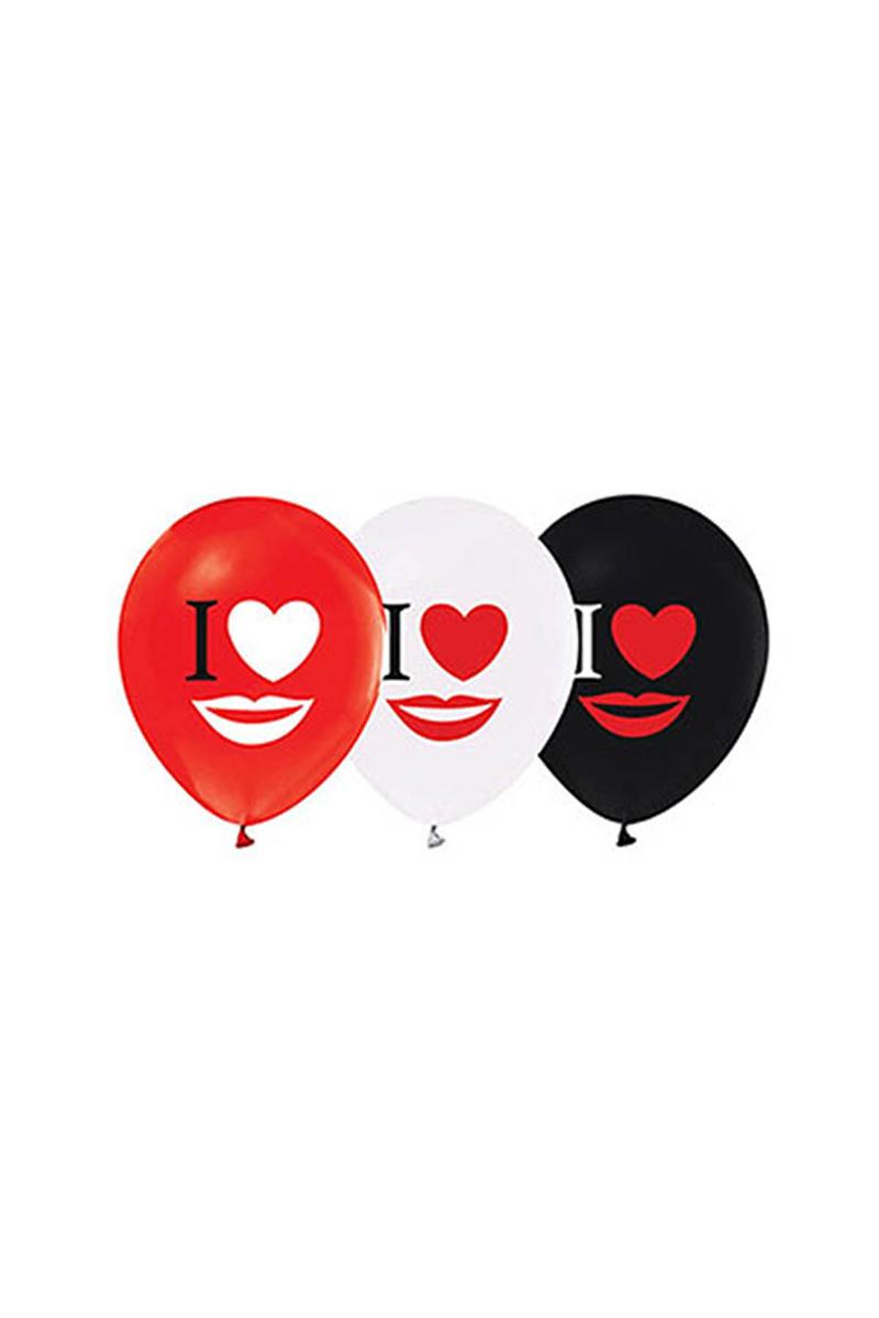 I Love Dudak Baskılı Balon 10lu