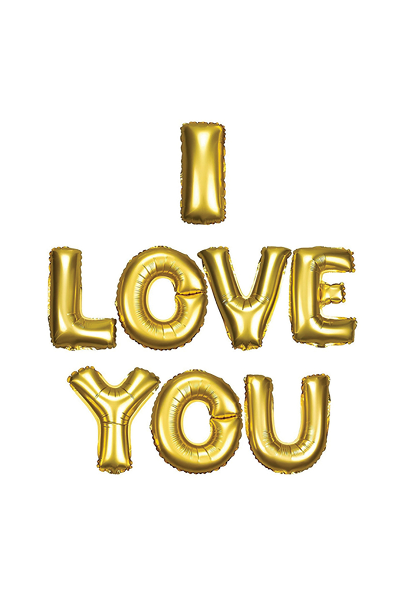 I Love You Altın Harf Folyo Balon Set 40cm 1 Adet