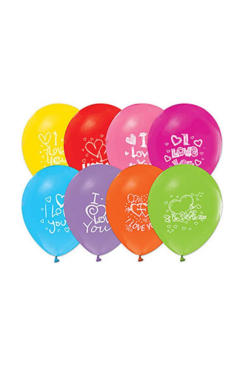 I Love You Baskılı Renkli Balon 10lu