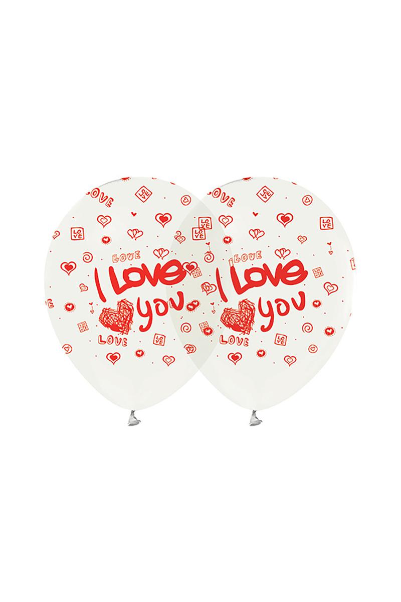 I Love You Baskılı Şeffaf Balon 10lu