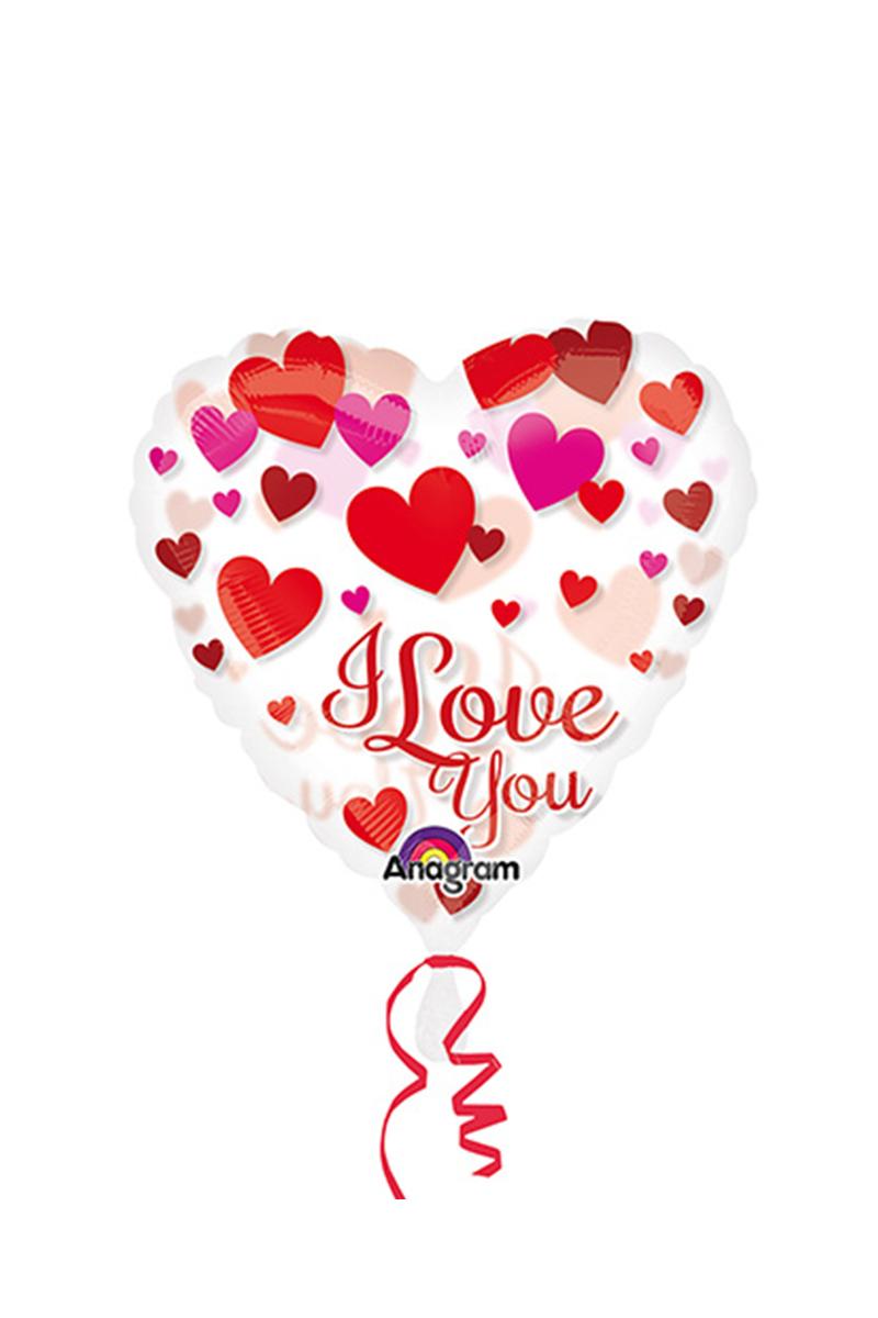I Love You Kırmızı Şeffaf Folyo Balon 66cm 1 Adet
