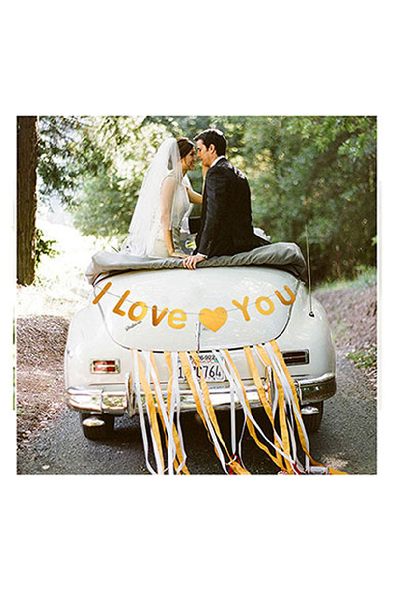 I Love You Yazı İp Süs Altın 3m 1 Adet - Thumbnail