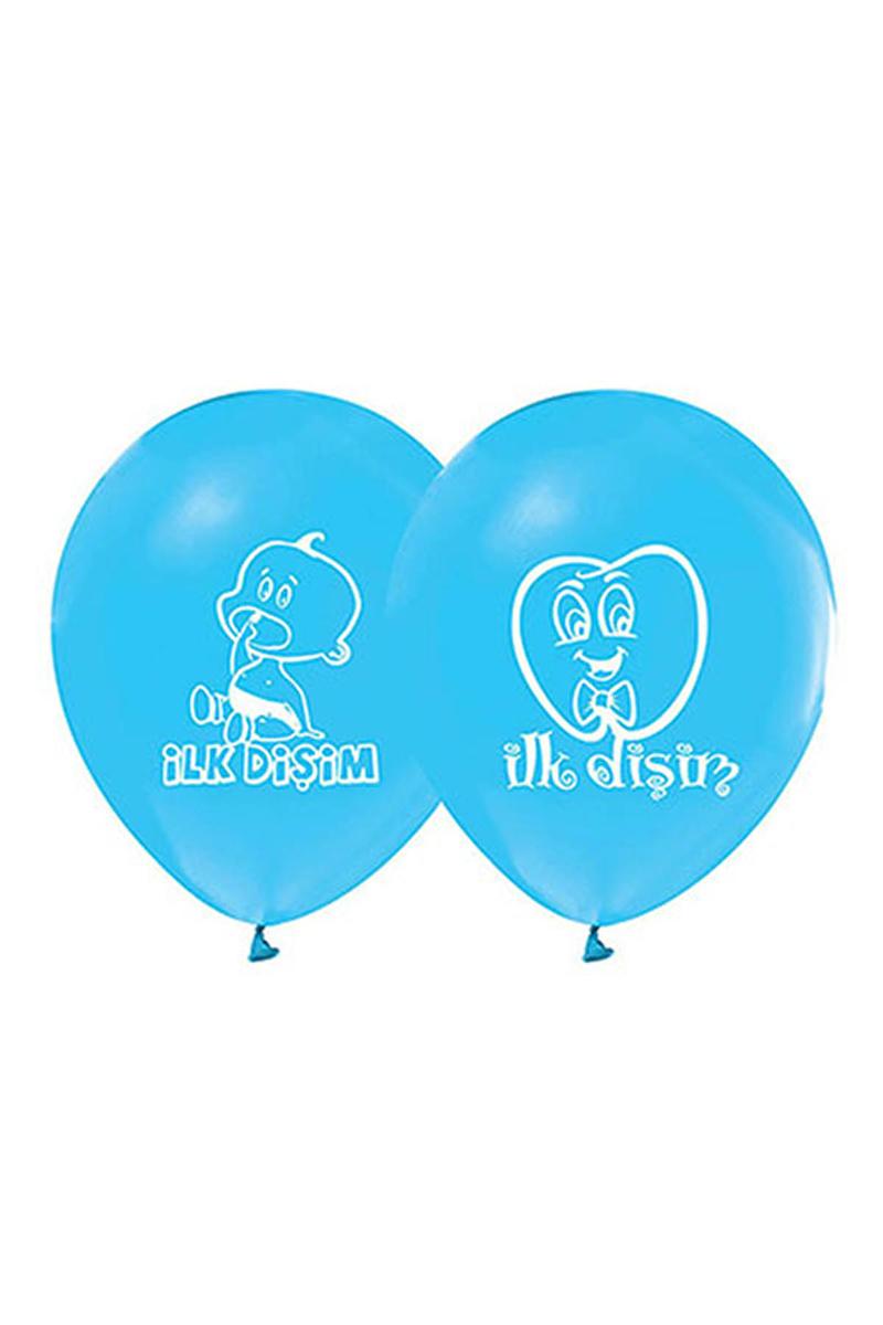 İlk Diş Baskılı Mavi Balon 10lu