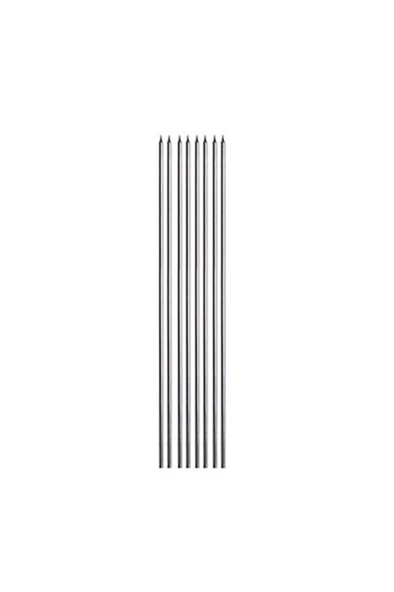 İnce Uzun Mum Gümüş 30cm 8li - Thumbnail