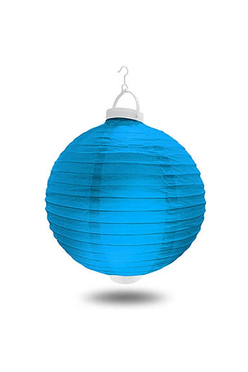 Işıklı Kağıt Fener Mavi 20cm 1 Adet