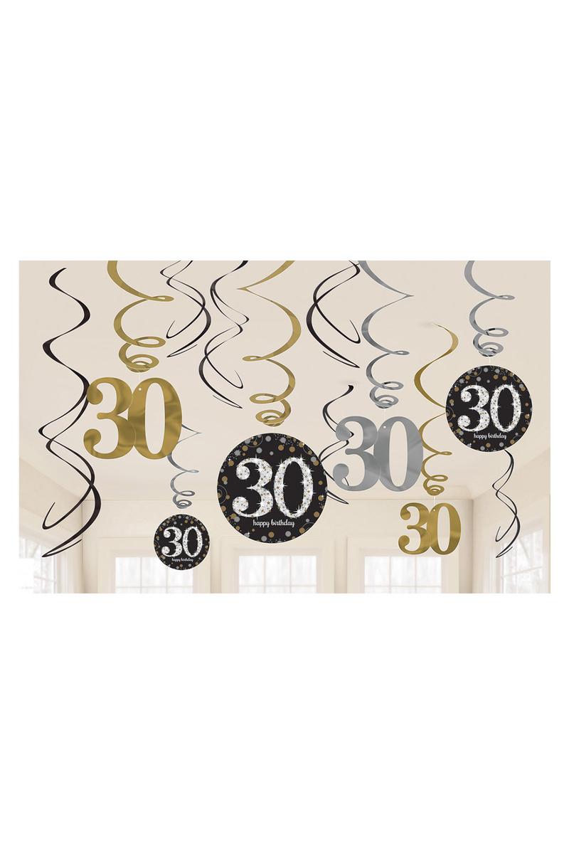 Işıltılı Doğumgünü 30 Yaş Süs Dalgası 1 Adet