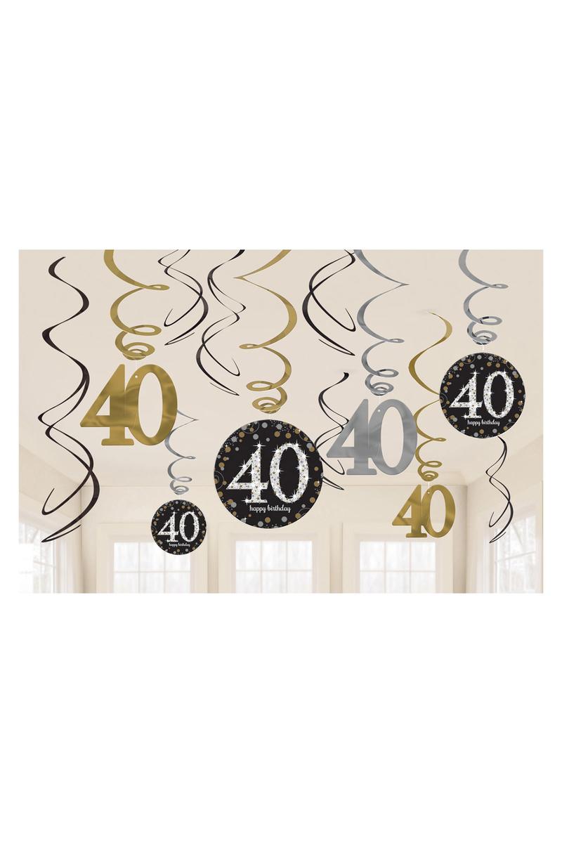 Işıltılı Doğumgünü 40 Yaş Süs Dalgası 1 Adet